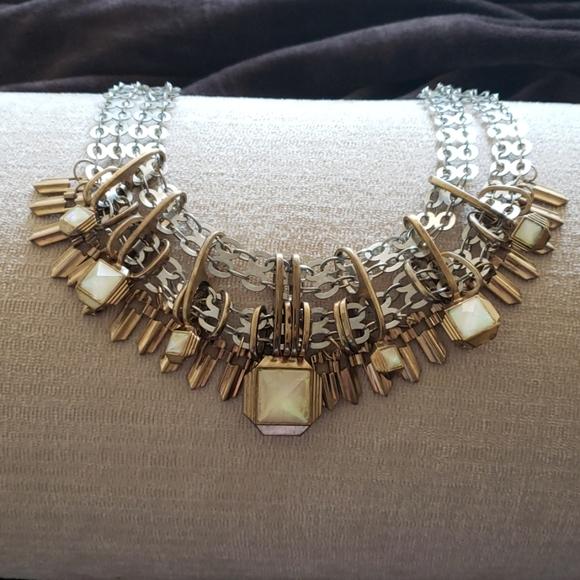 Aldo Jewelry - Two tone Silver and Gold iridescent White stone